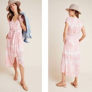 NEW Anthropologie Cloth & Stone Tie-Dye Midi Dresz